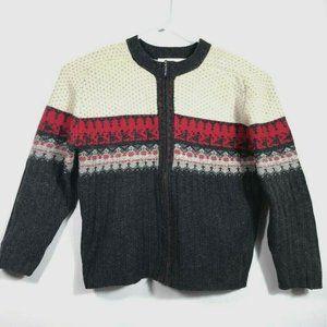 Vtg Womens Cardigan Sweater Tribal Dancing Angora